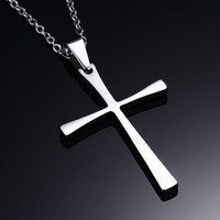Moda Croce Collane Ciondoli di Preghiera Cristo Pezzo Cristiana Gesù Per Le Donne Uomini Unisex In Acciaio Inox Catena di Gioielli Personalizzati