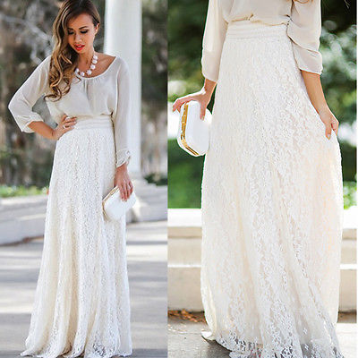 Fashion Women Girl Double Layer Lace Flower Pleated Maxi Skirt High Elastic Waist Long Maxi Skirts Elegant Womens Long Skirts
