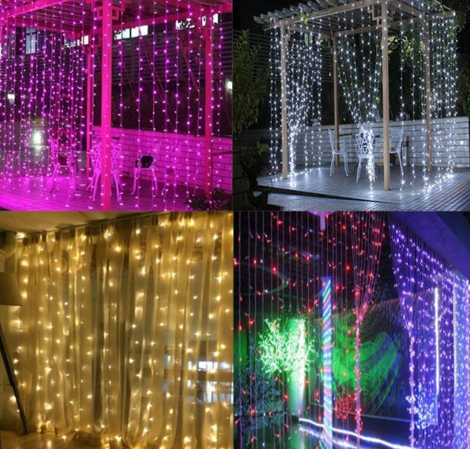 3M *2 M 3*3m 6*3m LED  Fairy Curtain String Light  Indoor Outdoor Twinkle Colorful Home Garden Christmas Party Weddingv Home