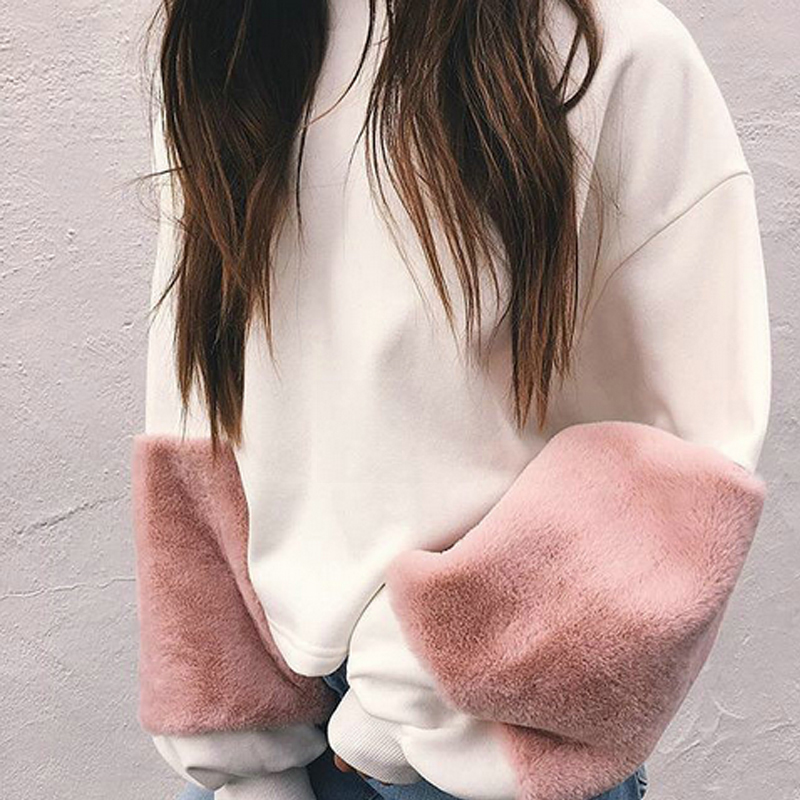 Fashion Autumn Winter Fur Patchwork Long Sleeve Women Blouse Shirt O Neck White Casual Pullover Lantern