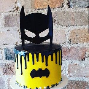 Image 1 - Dark Knight Acrylic Cake Topper Black Hero Mask Cake Topper for Kids Boys Birthday Party Cake Decorations Baby Shower 2019 New