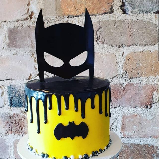 Dark Knight Acrylic Cake Topper Black Hero Mask Cake Topper for Kids Boys Birthday Party Cake Decorations Baby Shower 2019 New