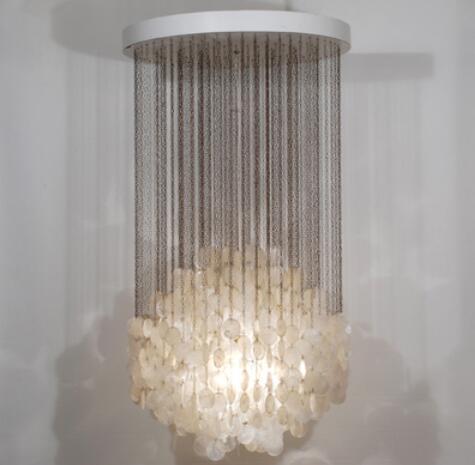 Sea rock shells 50/60cm white pendant lamps natural shell lamp fashion decorative lighting Sea style pendant light bohemian style shells forehead chain