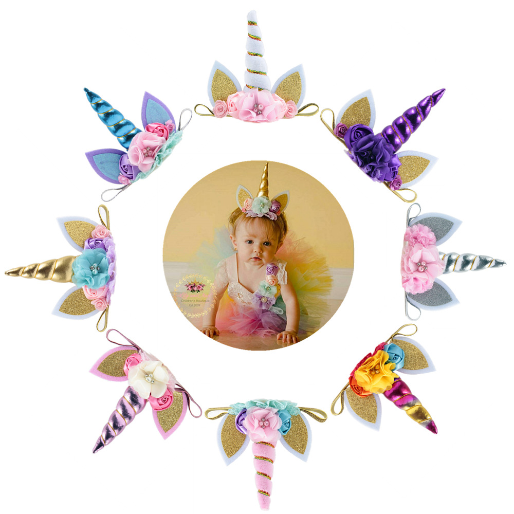 New Unicorn Horn Baby Headband Kids Birthday Gifts Unicorn Girls Hairbands Party Supplies Newborn Photography Props