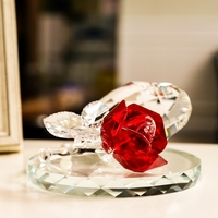 Feng Shui Quartz Crystal Rose Flower Crafts Glass Paperweight Ornaments Figurines Home Wedding Party Decor Gifts Souvenir
