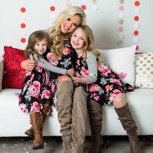 2019 Floral camisa de niñas familia ropa trajes de playa elegante vestido concurso princesa vestidos de madre y hija vestido de