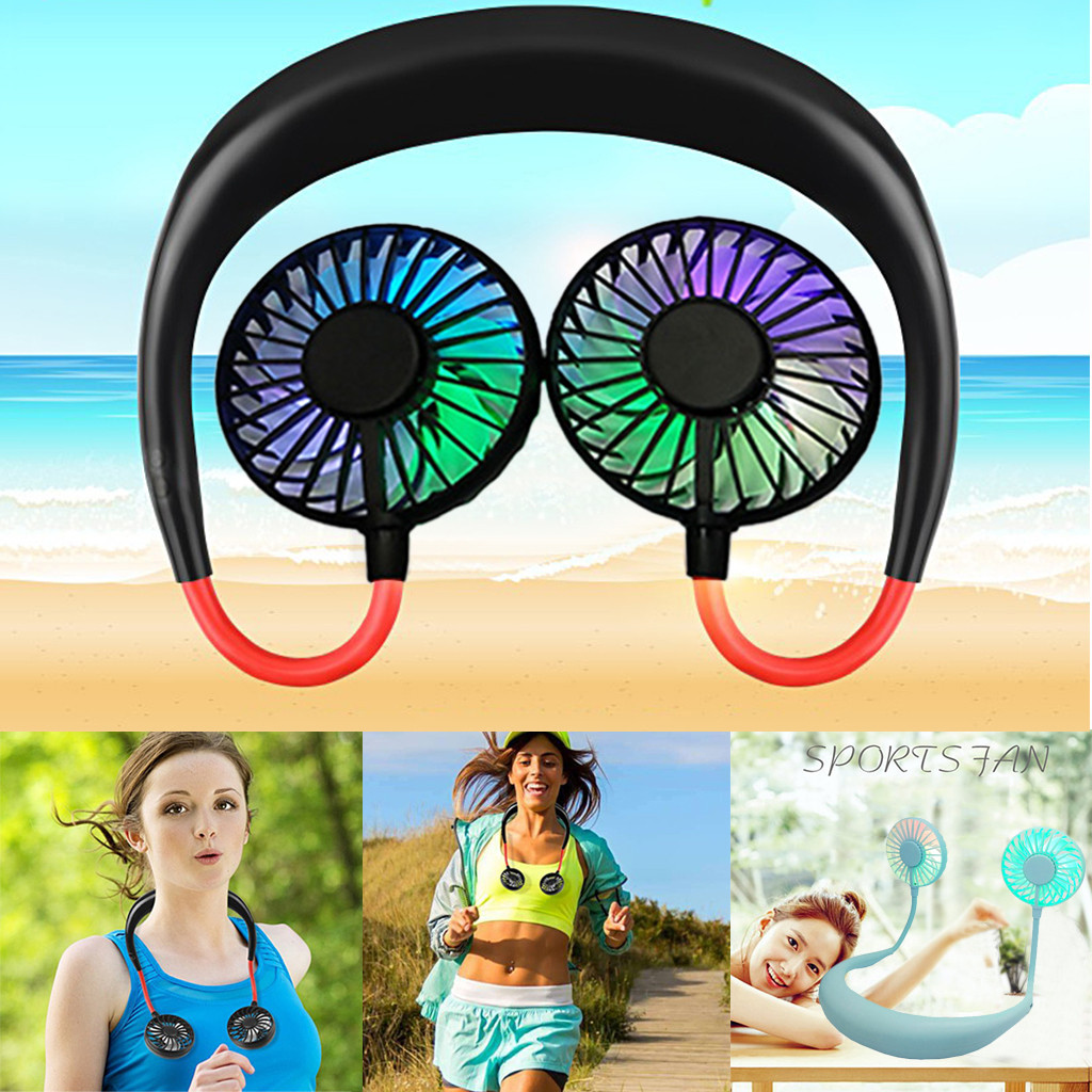 Cool USB Rechargeable Neckband Lazy Wireless Neck Hanging Style Dual Cooling Fan