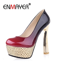 ENMAYER Sexy Red Shoes Woman Super High Heels Platform Slip-on Gladiator Womens Round Toe Pumps Big size34-44 CR378