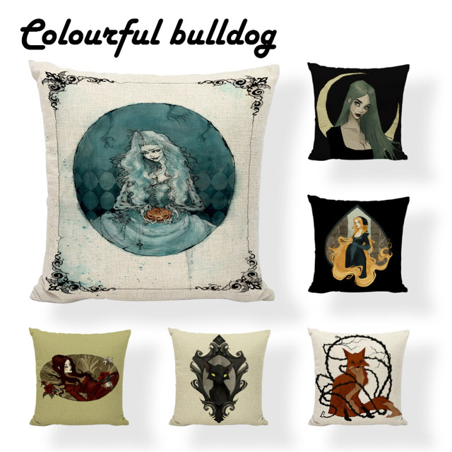 Horrifying Witch Wizard Halloween Decorative Cushion Cover Letter Pillows Magic Girl Evil Cat Vampire Suger Skull Pillow Case