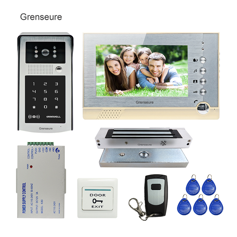 FREE SHIPPING Wire 7 LCD Screen Record Video Door Phone Intercom System + Outdoor RFID Code Keypad Password Camera + EM lock free shipping wire 7 lcd monitor video intercom door phone kit waterproof rfid code keypad doorbell camera magnetic lock