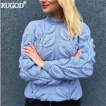 Leaves Pattern Long Sleeve Knitted Sweater