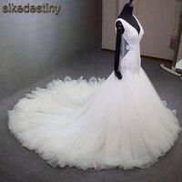 New Style Double V Neck Mermaid Wedding Dresses Elegant Slim Crystal Sequined Tulle Chapel Train Casamento