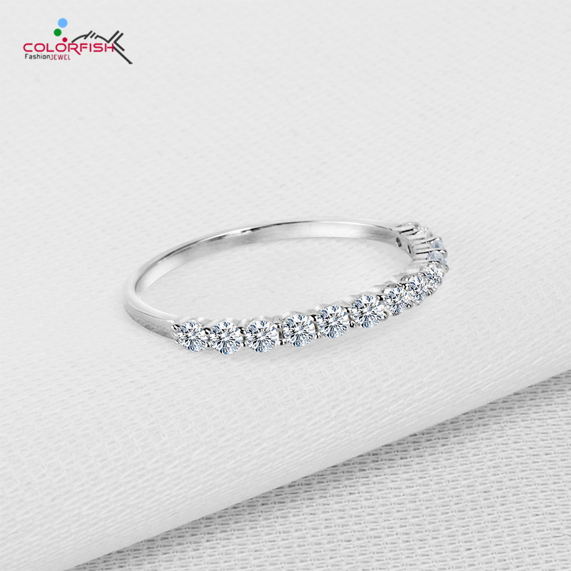 Colorfish 925 Sterling Silver Thin Match Eternity Ring