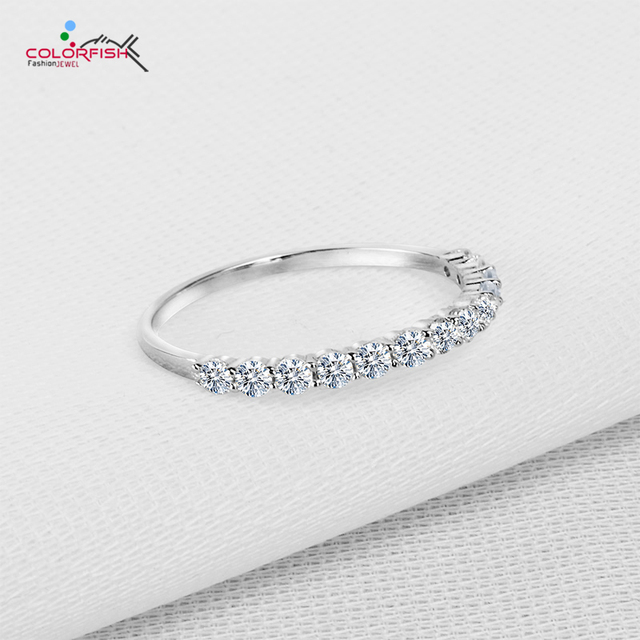 edcce287d COLORFISH 925 Sterling Silver Thin Match Eternity Ring Women Fashion Share  Prong Set Round 2 mm Cz Anniversary Wedding Rings