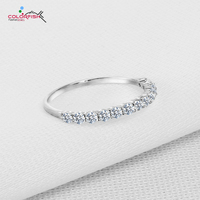 925 Sterling Silver Small Round Eternity Infinity Love Ring Gold Plated Prong Set CZ Diamond Wedding