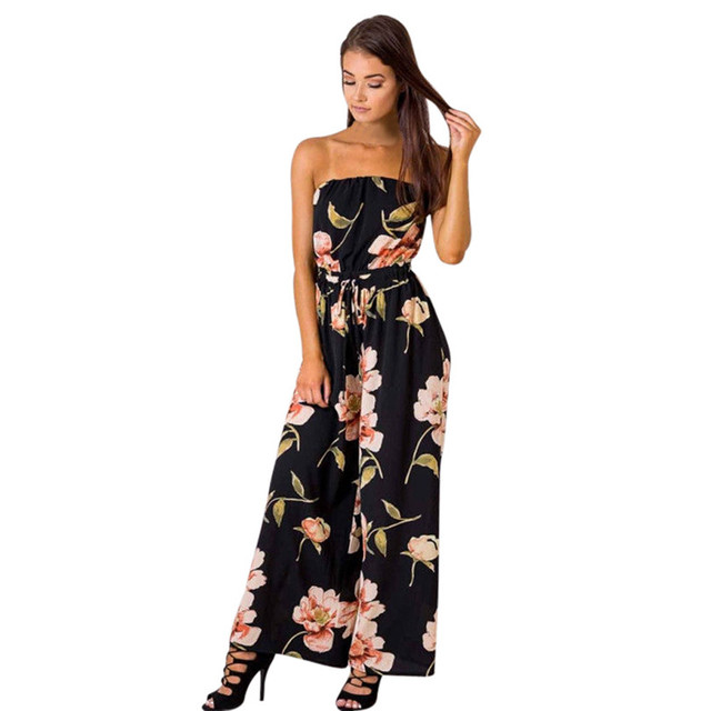 42acaeb9765 Overalls For Women Off Shoulder Sexy Jumpsuit Floral Playsuit Ladies Romper  Long Jumpsuit Female Body Dropshipping  F 30AT15