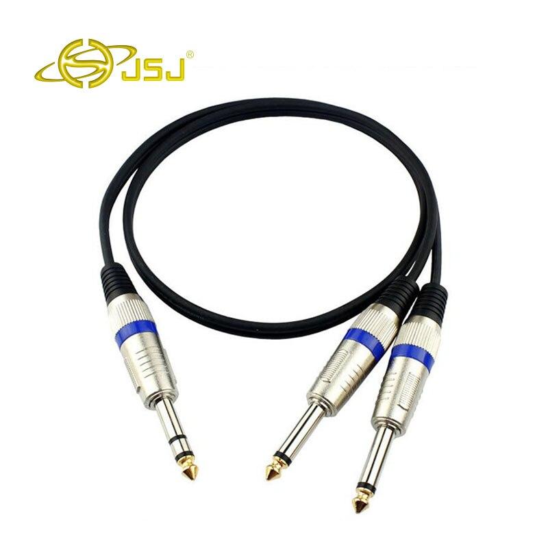 Jsj 1/4 ''macho estéreo de 6.35mm a 6.35mm macho enchufe mono audio cable para consola de mezcla Mezclador amplificadores cable