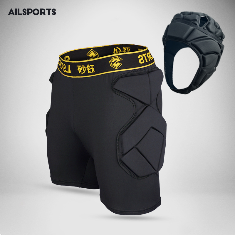 Men Goalkeepers Football Shorts Soccer Training Shorts Tights Futbol Protection Sponge Roller Skating Short Crash Tackles Helmet