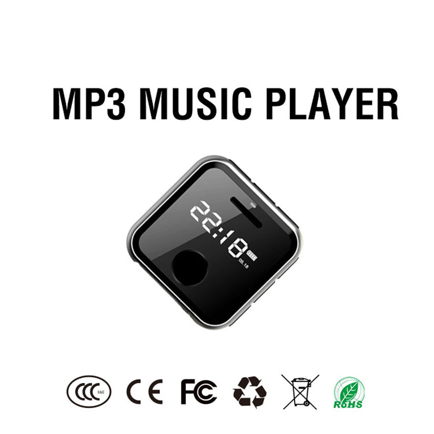 MP3 Player MP3 mini HiFi Music Player Kids Sport WAV Voice Recorder FM Radio 8G 0.91 inches MP3 Bracelet Can Play 30 Hours
