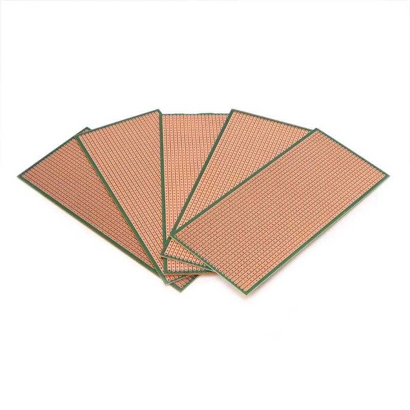 5Pcs 6.5x14.5cm Stripboard Veroboard Uncut PCB Platine Single Side Circuit HZH