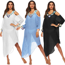Hand crochet flower beach blouse dress off stitched V-neck long sleeve dress cotton plus size women bohemian