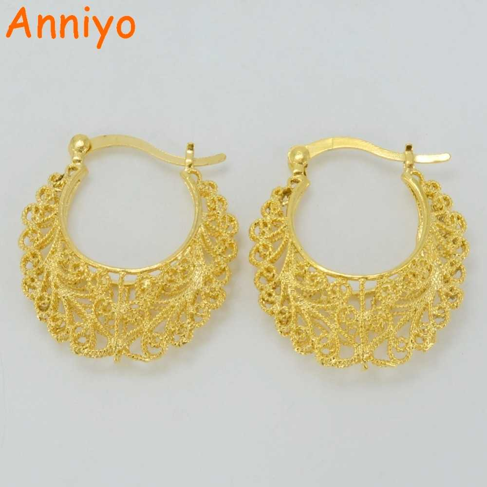 Anniyo 2.9CM Africa Earrings for Women Gold Color Stud Earrings Girl,Ethiopian Jewelry Arab Middle East Gift #046102