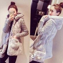 Qiu dong наряд новая классическая мода вязание женский сплайсинга плюшевый искусственный мех и утолщение с капюшоном пальто