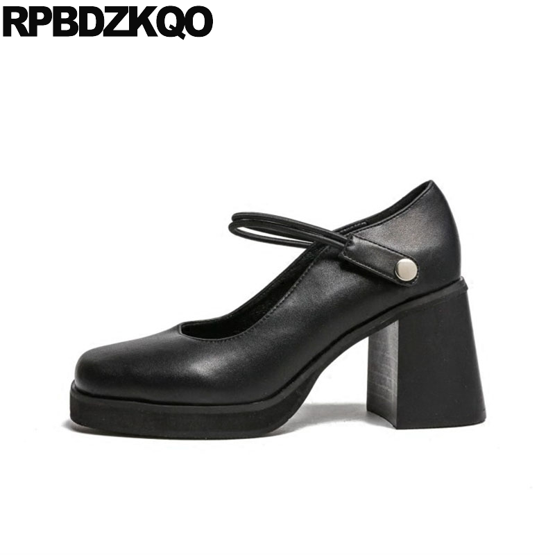 Size 4 34 Pumps Footwear Japanese Strap Square Toe Platform Ladies High Heels Mary Janes Women Shoes Black Thick 3 Inch Female black ladies cool casual pumps wedge korean slip on high heels suede creepers big size 4 34 green platform shoes round toe