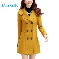 Lisa Colly Autumn Winter fashion women wool coat double breasted Woolen coat Overcoat Women Casual Warm Coats Jackets Outwear