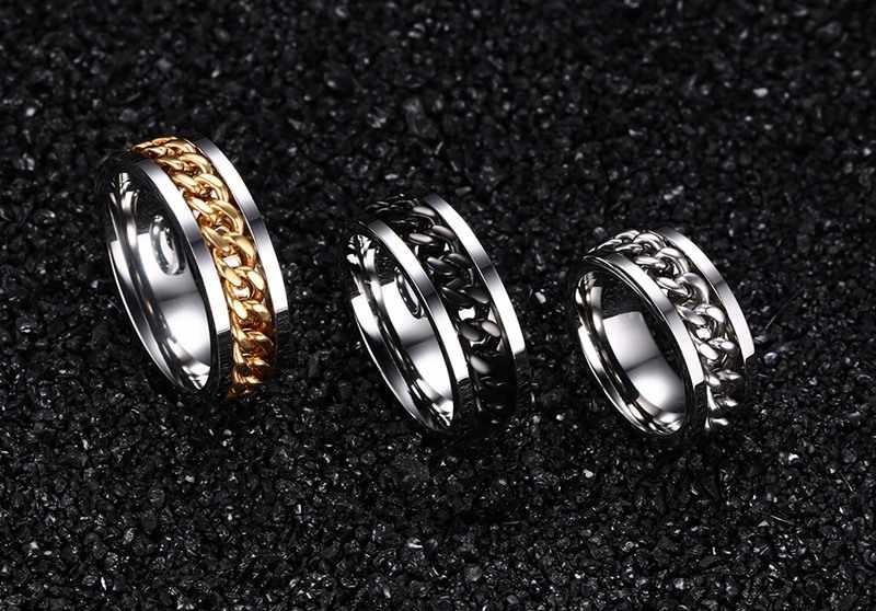 Bague Rock homme acier inoxydable chaîne à maillons cubains en anneaux moyen taille américaine-15 Anel Masculino Limited Anillos bijoux 8mm