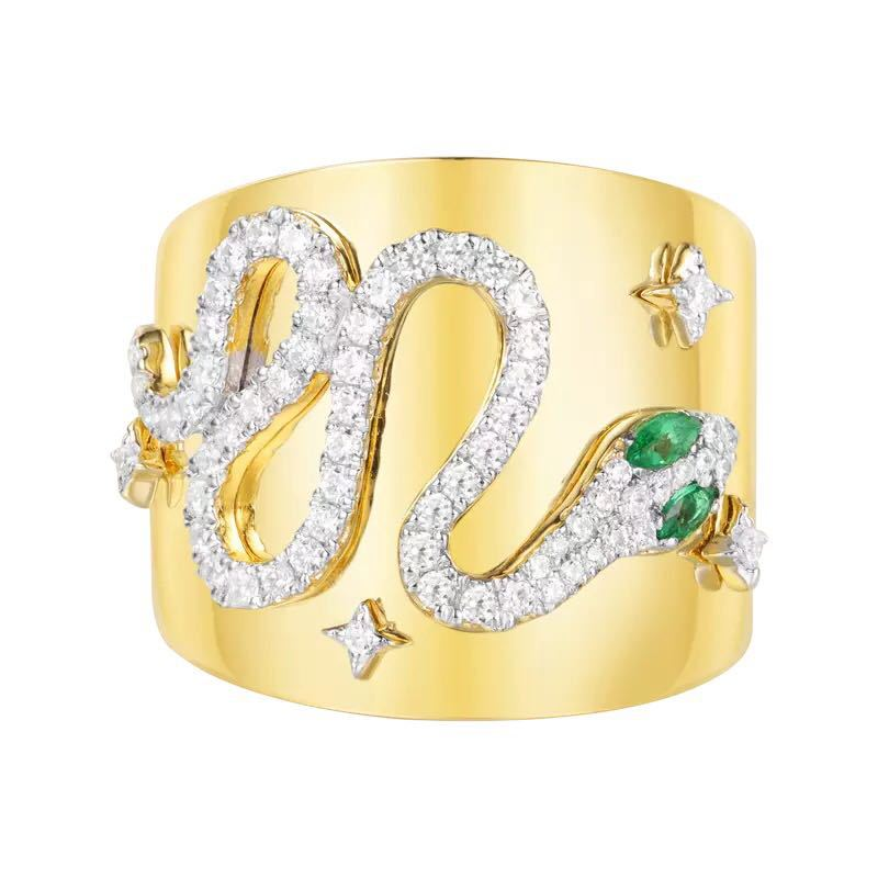 SLJELY Luxury Brand 925 Sterling Silver Green Eyes Snake Ring Micro Cubic Zirconia 3 Gold Colors