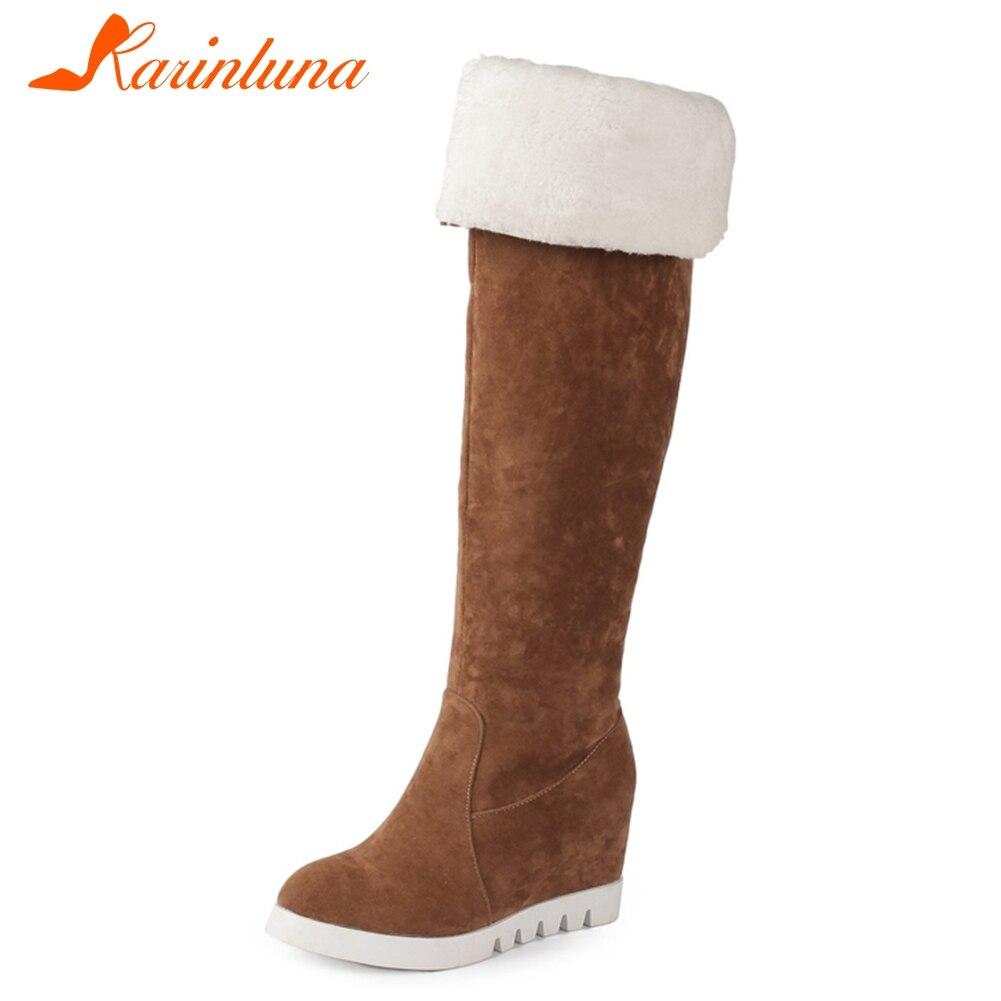 27ef5bc3 KARINLUNA nueva moda altura sólida aumento gran venta zapatos de plataforma  para mujeres Casual botas hasta la rodilla 5 colores