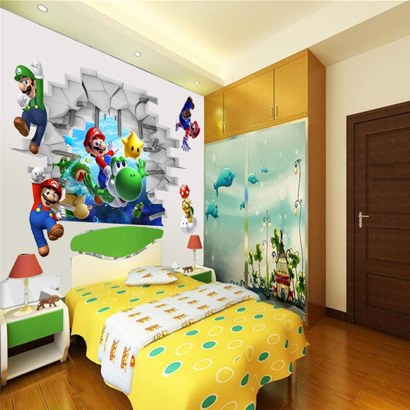 Env o gratis nueva 3d super mario bros dibujos animados for Pegatinas pared ninos