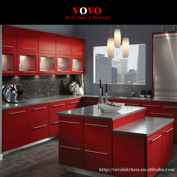 dark red lacquer modern kitchen cabinet-in kitchen