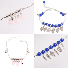 Womens Chic Beaded Leaf Tassel Chain Ankle Bracelet Anklet Barefoot Jewelry with Bell Decor