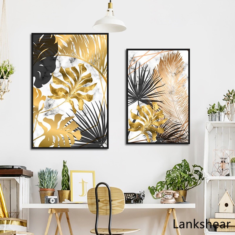 HTB1u5QkXEY1gK0jSZFMq6yWcVXab Scandinavian Style Poster Marble Golden Leaf Art Plant Abstract Painting Living Room Decoration Pictures Nordic Decoration