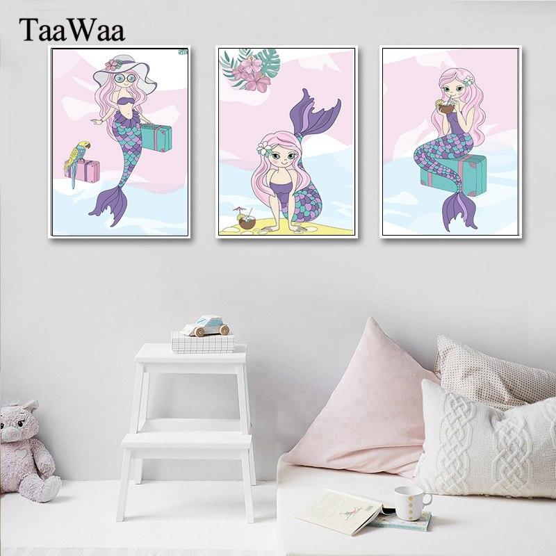 Mermaid Nirsery Accent Wall: TAAWAA Cartoon Mermaid Animal Canvas Wall Art Nursery