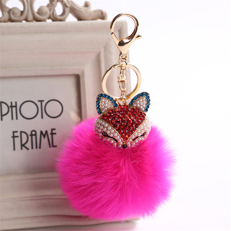 2017 New Artificial Rabbit Fur Ball Keychain Rhinestone Crystal Fox Head Pompon Trinket Key Chain Handbag Fluffy Key Ring Holder 12
