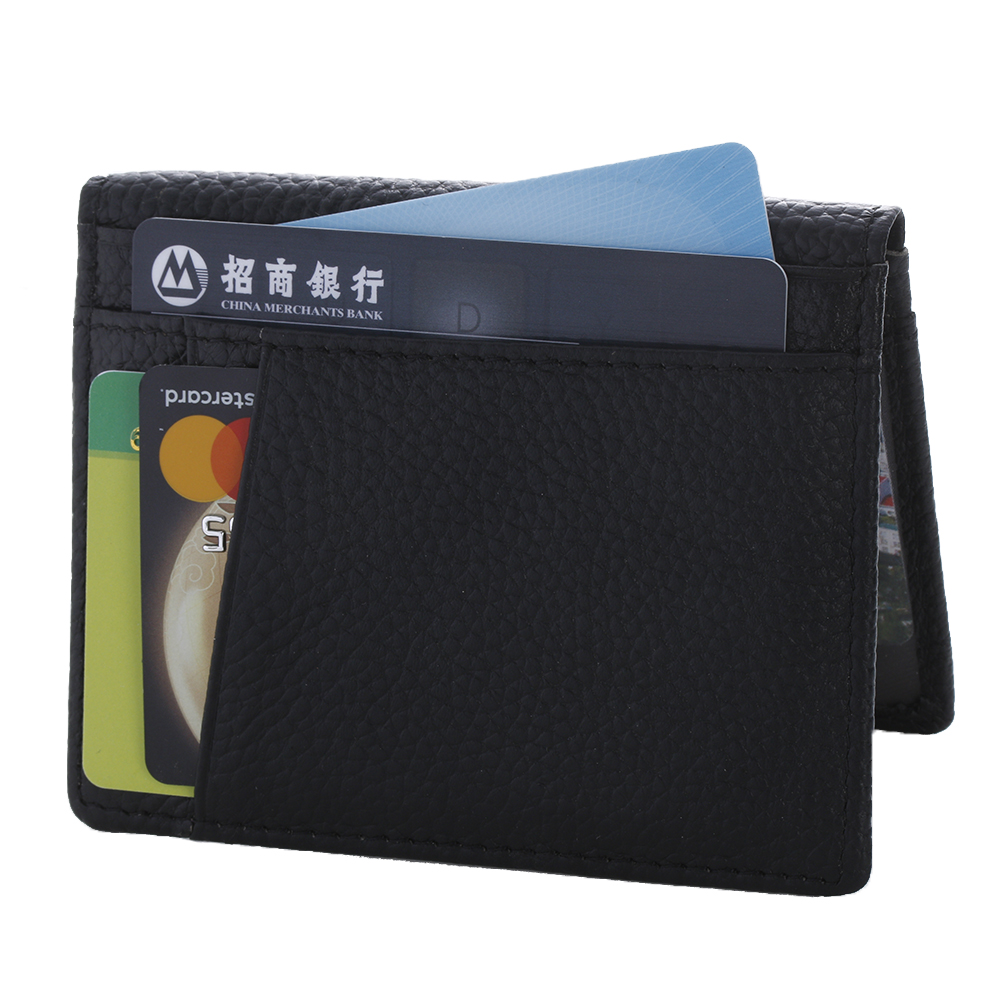 Fashion Men Slim Leather ID/Credit Card Holder Bifold Front Pocket Wallet with RFID Blocking Business card holder