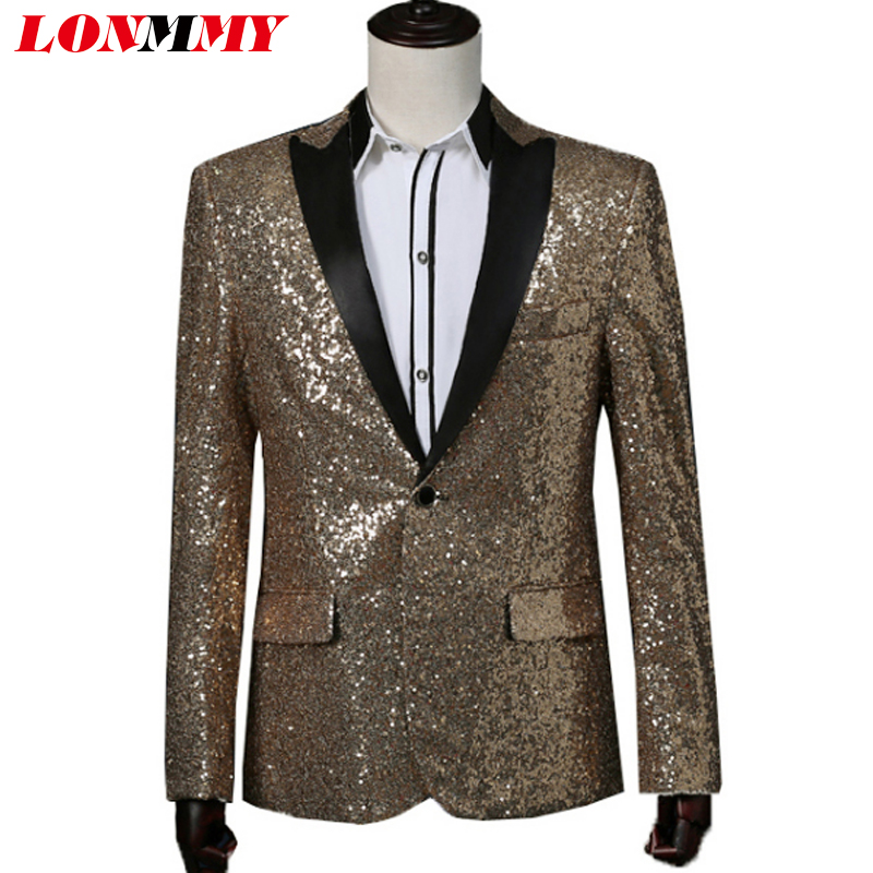 LONMMY Tuxedos Sequin suit men Formal Wear blazer men Wedding suits for mens suits 2018 mens blazer jacket Red Gold Silver Blue