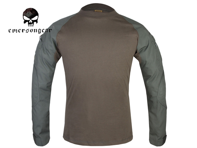 31cf7fc5 Emerson Combat Shirts Military Airsoft Round Collar Tactical Long Sleeve T- shirts EM8517 Olive