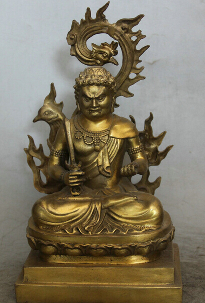 "JP S61 11"" Japan Japanese Buddhism Brass phoenix Seat Fudo Myo-o / Acalanatha Statue (B0413)"