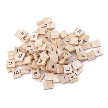 100 sztuk drewniane Puzzle alfabet angielski zabawki DIY numery litery Puzzle rozwijać dziecko inteligentne zabawki do wczesnej edukacji dzieci dla dzieci