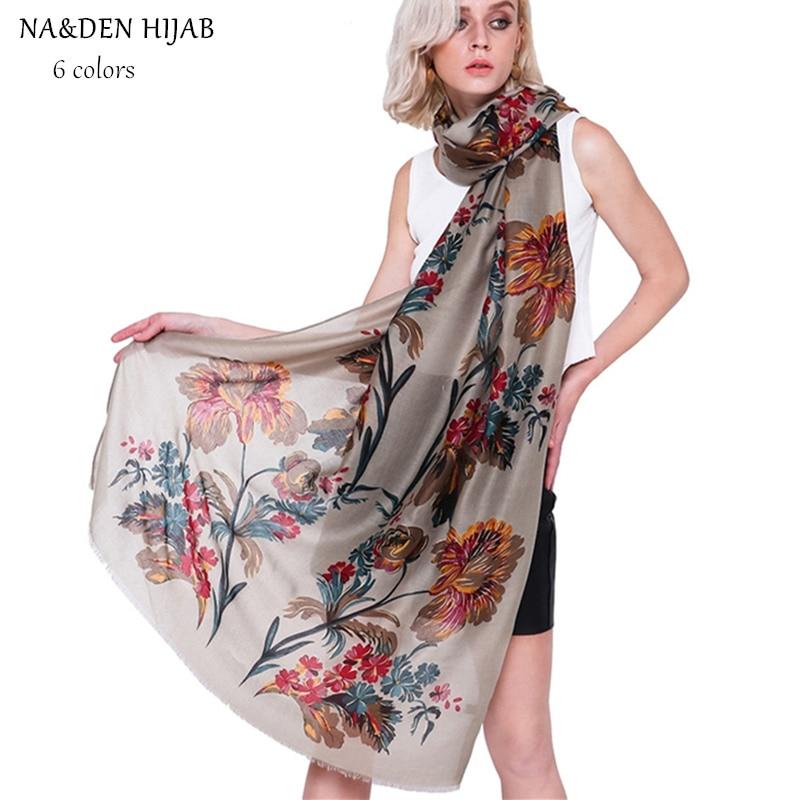 NEW gold flower scarf long pashmina luxury muslim print hijab women scarves shawls brand wrap soft