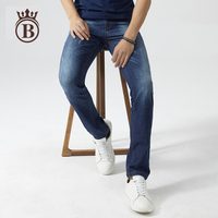 2017 Spring and Summer New Men Korean Fashion Straight Tube Thin Section Leisure  Comfortable Blue Jeans