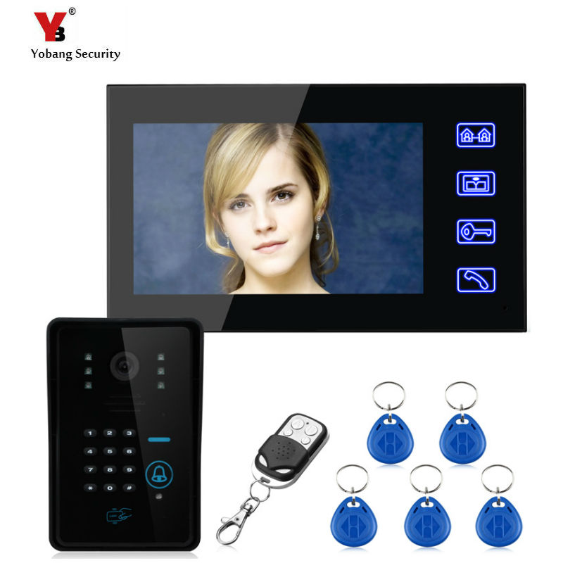 Yobang Security freeship 7inch monitor Video Intercom System RFID Password Keypad Doorbell Camera with hands-free access control yobang security freeship 7 video intercom for villa 2 monitor doorbell camera with 5pcs rfid cards hd doorbell camera in stock