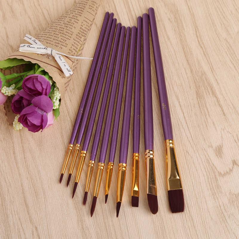 10 шт. фиолетовая художественная кисть Набор нейлоновых волос акварельные акриловые кисти для живописи маслом Рисование художественные принадлежности