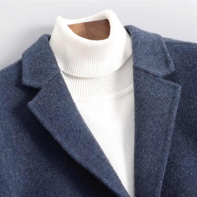 秋冬ジャケット男性両面ウールのコートの男性ストリートウインドブレーカーウールコートメンズジャケットとコート Abrigo 4432 y1970