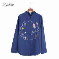 Fashion Harujuku Turn Down Collar Letters Blouse Japan Words Embroidery Short Sleeve Turn Embroidered Shirts