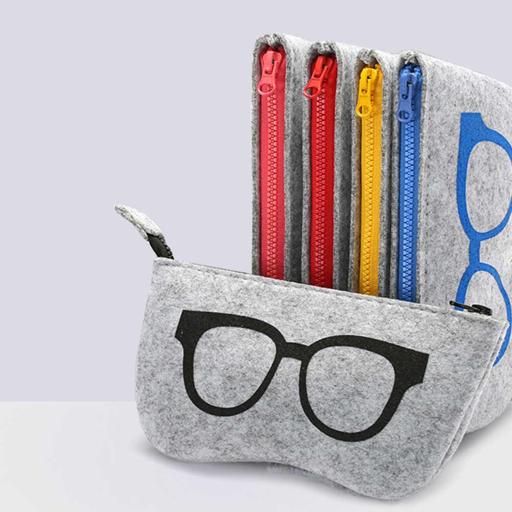 Войлочная Молния Очки солнцезащитные очки чехол сумка коробка для хранения защитные очки аксессуары Забавный узор солнцезащитные очки сумка для хранения